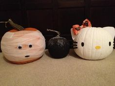 Pumpkin decorating ideas, sans carving.  Mummy, spider/bat and Hello Kitty!  I chose to pin this because of the Hello Kitty pumpkin.  It's a great, creative idea for adults and kids who like Hello Kitty! and all you need is a little ribbon, felt, glue, and paint (if you didn't buy a white pumpkin).  Great idea!!  The other pumpkins are pretty cute and easy to create too!