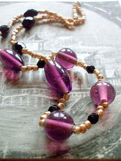 Purple Glass Gold and Black  Mistress of Venice  by Shalotte, £18.00