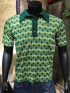 b0e6634c8 Green Knit Vintage Polo Shirt Men's 70's knit Polo Vintage Clothing Online,  Green Materials,