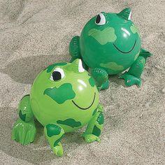 Inflatable Frog Beach Balls - OrientalTrading.com  Frog themed birthday party poolside