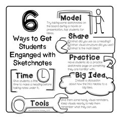 6 ways to get students engaged using sketchnotes from Expressive Monkey plus free handouts.