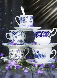 Blue and white teacups. Vibrant and beautiful! There is never a bad time for tea #Consignments #NowandAgain