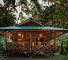Wooden House Design, Bamboo House Design, Tropical House Design, Simple House Design, Bungalow House Design, Dream Home Design, Tropical Houses, Forest Cottage, Forest House
