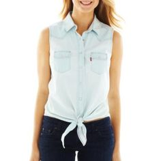 Levi's® Sleeveless Tie-Front Shirt - JCPenney