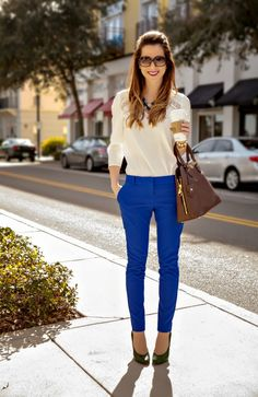 Ivory lace, tile blue, and green work outfit