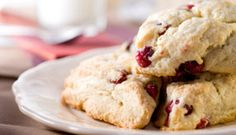 Cranberry Scones Satisfying and filling, these scones combine chewy dried cranberries with whole grain goodness to form a great snack with protein and fast carb.