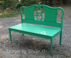 building a bench using an old headboard, diy, painted furniture, repurposing upcycling, woodworking projects