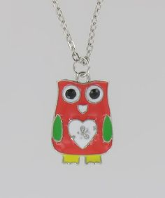 This Red Heart Owl Necklace is perfect! #zulilyfinds