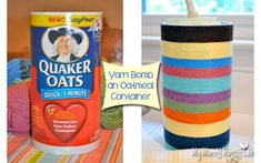 yarn bomb an upcycled oatmeal container for storage, crafts, repurposing upcycling, Decorate an old oatmeal canister with yarn to make a custom storage container