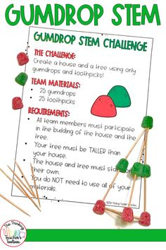 This Christmas STEM activity is the perfect indpendent or team project for winter or anytime! All you need are toothpicks and gumdrops. Students will plan, design, create, build, and evaulate their gumdrop structures. Engage your students while encouraging problem solving and creative thinking skills. Christmas Activities For School, Holiday Activities, Science Activities, Kindergarten Science, Elementary Science, Science Classroom, Creative Thinking Skills, Critical Thinking Activities, Engage In Learning