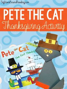Pete the Cat Thanksgiving Activity great for Kindergarten! is part of Thanksgiving crafts First Grade - Thanksgiving Activity inspired by Pete the Cat! Cute Pete the Cat Thanksgiving Activity to go along with his First Thanksgiving book Pete The Cat Thanksgiving Activities, Thanksgiving Books, Thanksgiving Crafts For Kindergarten, Thanksgiving Worksheets, Thanksgiving Projects, Thanksgiving Appetizers, Thanksgiving Outfit, Thanksgiving Decorations, Thanksgiving Recipes