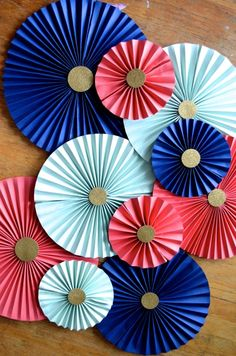 Navy, Mint, Coral and Gold Pinwheels on the Path Less Traveled