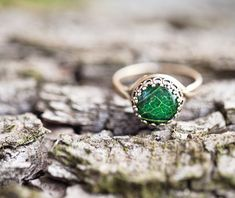 Green leaf ring - Adjustable ring - Rustic jewelry (R056)