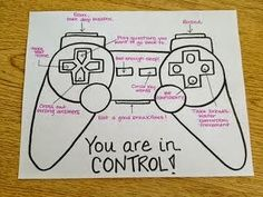 Kids Health Love the game controller idea for an image listing strategies and ideas for any situation. This one is about test-taking strategies, but it could be for all kinds of coping strategies, anger management strategies, etc. Learning Tips, Test Taking Strategies, Avid Strategies, Test Taking Skills, Counseling Activities, Coping Skills Activities, Anger Management Activities For Kids, Group Therapy Activities, Leadership Activities
