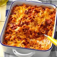 Sloppy Joe Pasta Recipe -Since I found this quick-to-fix recipe a few years ago, its become a regular part of my menu plans. Everyone loves the combination of sloppy joe ingredients, shell pasta and cheddar cheese. —Lynne Leih, Idyllwild, California Casserole Dishes, Casserole Recipes, Pasta Recipes, Cooking Recipes, Pasta Casserole, Lunch Recipes, Nacho Recipes, Enchilada Recipes, Leftovers Recipes