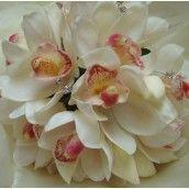 Ivory Cymbidium Orchid Wedding Bouquet
