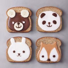 3 or 🐼🐻🦊🐰🍞✨ Toasts topped with chocolate, coconut cream, banana & peanut butter. Cute Snacks, Cute Desserts, Food Art For Kids, Food Kids, Kawaii Dessert, Dessert Food, Sweet Pic, Cafe Food, Peanut Butter Banana