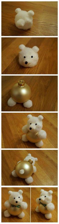 Weihnachtskugel-Bärchen - Christmas Ornament Teddy Bear Tutorial DIY