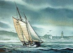 Schooner Voyager  \\ James Williamson . Watercolors