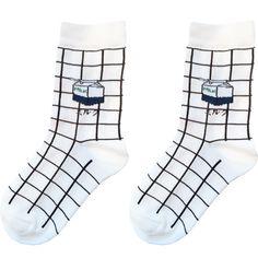 Milk Grid Socks