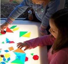 shapes on the light table! Toddler Activities, Activities For Kids, Light Board, Learning Support, Eyfs, Sensory Play, Light And Shadow, Light Table, Preschool Crafts