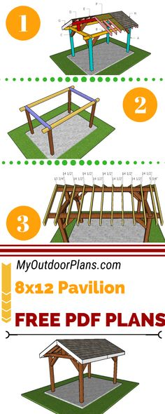 This step by step diy woodworking project is about a outdoor pavilion plans. This is a small pavilion that anyone can build in a few days and save tons of money, as compared to buying a retail one. Carport Garage, Pergola Carport, Diy Pergola, Carport Designs, Pergola Designs, Carport Ideas, Gazebo Plans, Outdoor Pavilion, Backyard Bar