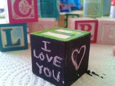 update blocks. chalkboard paint. custom colors for raised letters. simple & lovely, easy tutorial from CampClem blog