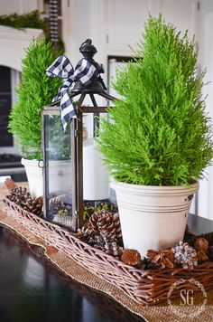 use basket on microwave and fill with pinecones and white pitcher with evergreen clippings and add lantern (or candle), then put white wood box or weathered tray on micro to hold paper plates