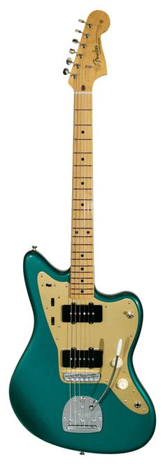 In early 1958 Fender made the earliest version of their top of the line guitar, the Fender Jazzmaster with a maple neck and fingerboard, anodized pickguard and black pickup covers.