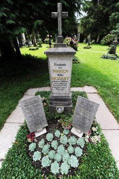 This is the grave that contains Mozart's wife, Mozart's father, and Constanze Mozart's second husband.  There is something profoundly absurd about this arrangement since Mozart's wife and father despised each other, and now they're stuck together forever.  And what would crusty old Leopold have though about the second husband being there, too?