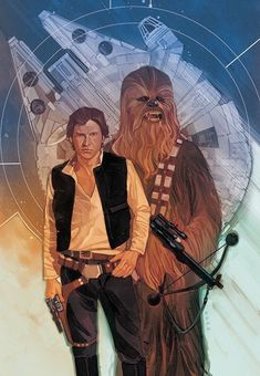 "wookiee-monster2: "" Han Solo & Chewbacca • art by Phil Noto """