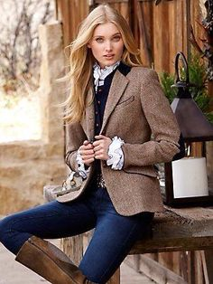 lara harris tweed jacket - jackets - women - Categories - Gorsuch So me! Mode Outfits, Fall Outfits, Casual Outfits, Mode Style Anglais, Estilo Kate Moss, Business Outfit Frau, Preppy Style, My Style, Harris Tweed Jacket