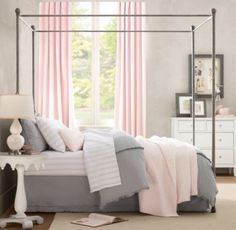 Could leave walls gray and use dark brown sleigh bed w/lavender bedding & light pink accents (pillows in the window seat).  Would be lovely!