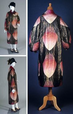 Wrap opera cape, G. Fox & Co., Hartford, Conn. ca. 1920s, of black & pink brocade woven with gold in large palmette pattern. Open center front, full sleeves, below-knee length, with large collar falling over shoulders. Kent State Univ.