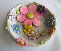Whimsical flowers ring dish - polymer clay