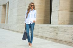 Pinstripe Blouse • For the Love of Fancy. Hudson's Collin Midrise Skinny with Release Hem