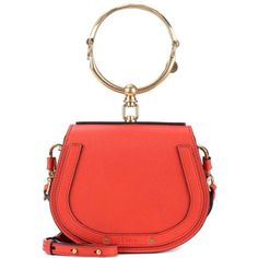 Chloé Small Nile Leather Bracelet Bag ($1,970) ❤ liked on Polyvore featuring bags, handbags, red, red purse, leather handbags, real leather purses, red leather bag and 100 leather handbags