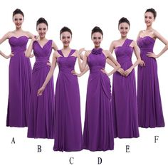 Amazon.com: BEAUTBRIDE Women's Gorgeous Long Purple Chiffon Prom Bridesmaid Dresses Multible Styles: Clothing