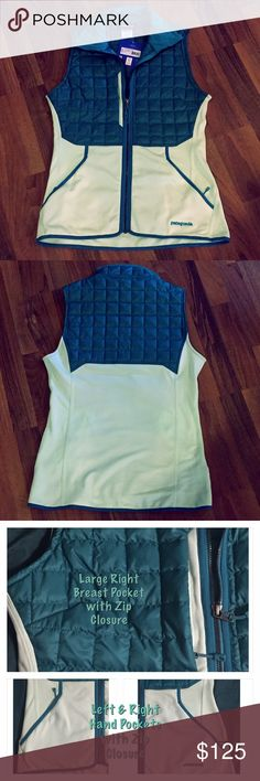 "Patagonia Ski/Snowboard Vest NWT in ""mint"" condition!  Regular fit. Stretchy material. Teal colored puff with a mint cream color on the rest of the body. The right breast pocket is large enough to fit your whole hand, past the wrist, inside of it. Love this thing but it's too snug when zipped, and my boobs are too big to leave it unzipped. Will fit a true to size for someone who regularly wears a medium. Patagonia Jackets & Coats Vests"