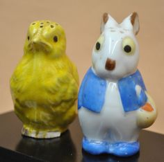 Salt and Pepper Shaker Set Vintage Old Easter Chick and Bunny Rabbit Pair