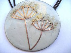 Enamelled cow parsley pendant with copper by maggiejonesenamels