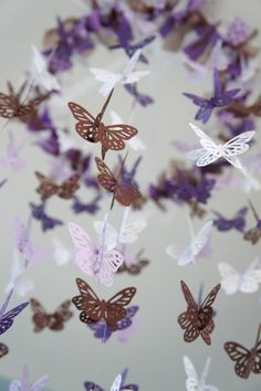 Butterfly Nursery Mobile - Purple, lavender, and brown crib mobile