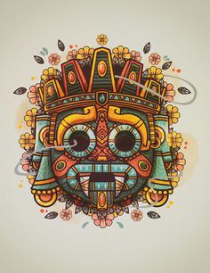 Tattoos And Body Art aztec tattoo Art Chicano, Chicano Tattoos, Smal Tattoo, Mexican Art Tattoos, Mexican Skull Art, Indian Tattoos, Chalk Pastel Art, Aztec Culture, Mexico Art
