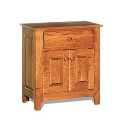 Shaker Night Stand from DutchCrafters Amish Furniture. Solid wood nightstand with a clean design. Features one drawer and two doors that open to a storage compartment. Made to order in your choice of wood, finish, and hardware from a variety of options. #nighstand #withdrawers #bedroom #wooden