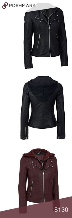 BNWT Plus Faux-LeatheR Jacket W/Cable Knit Hood BNWT Plus Faux-LeatheR Jacket W/Cable Knit Hood; Faux-Leather Shell: 100% polyurethane (face); 84% rayon, 16% polyester (back); Hooded Bib: 100% acrylic (front); 100% polyester (back) Lining: 100% polyester Full-zip placket; notched lapel collar; removable cable-knit bib with drawcord-adjustable hood and full-zip placket Zippered cuffs; topstitched sleeve panels Two zippered hand pockets Wild Orchid Boutique Jackets & Coats