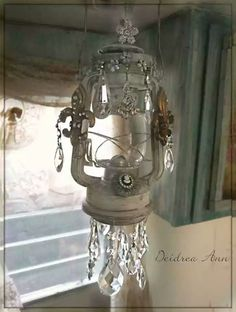 """Shabby chic camper"" ... vintage kerosene lamps mixed media/altered art. Pinned for inspiration, no instructions."