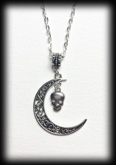Gothic Crescent Moon Filigree Necklace With by WhisperToTheMoon