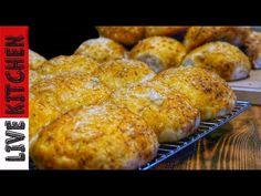 """Αφράτα #Κασεροψωμάκια με Ζαμπόν"""" - Super Fluffy Cheese Dinner Rolls! - YouTube Kitchen Living, Muffin, Breakfast, Savoury Pies, Pastries, Food, Youtube, Cakes, Morning Coffee"""