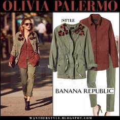 Olivia Palermo in green embellished jacket, rust brown suede shirt and green pants military style banana republic