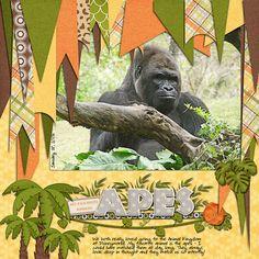 A Magical Scrap Stacks Summer: Animal Kingdom Travel Scrapbook Pages, Vacation Scrapbook, Scrapbook Page Layouts, Scrapbook Cards, Book Layouts, Baby Boy Scrapbook, School Scrapbook, Zoo Pictures, Forest Illustration